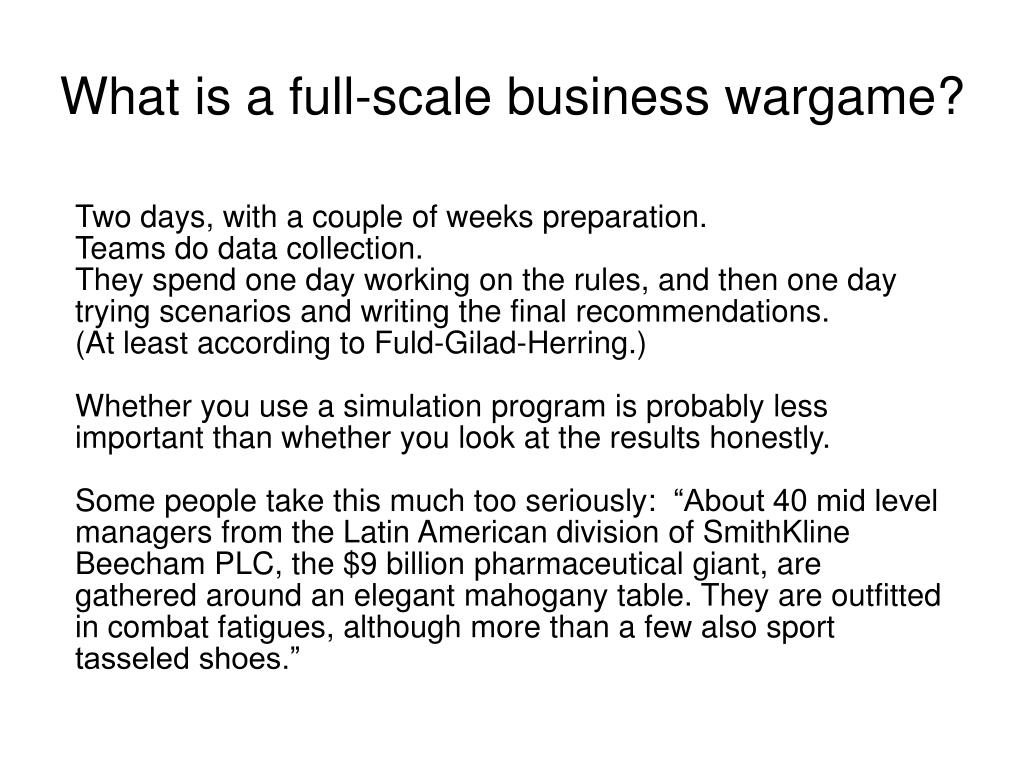 What is a full-scale business wargame?