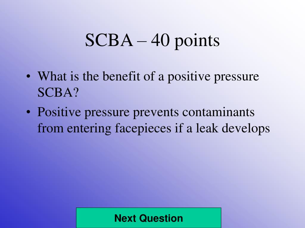 SCBA – 40 points
