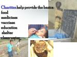 charities help provide the basics food medicines vaccines education shelter clean water