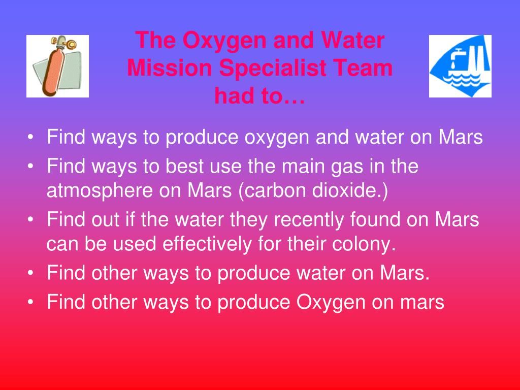 The Oxygen and Water