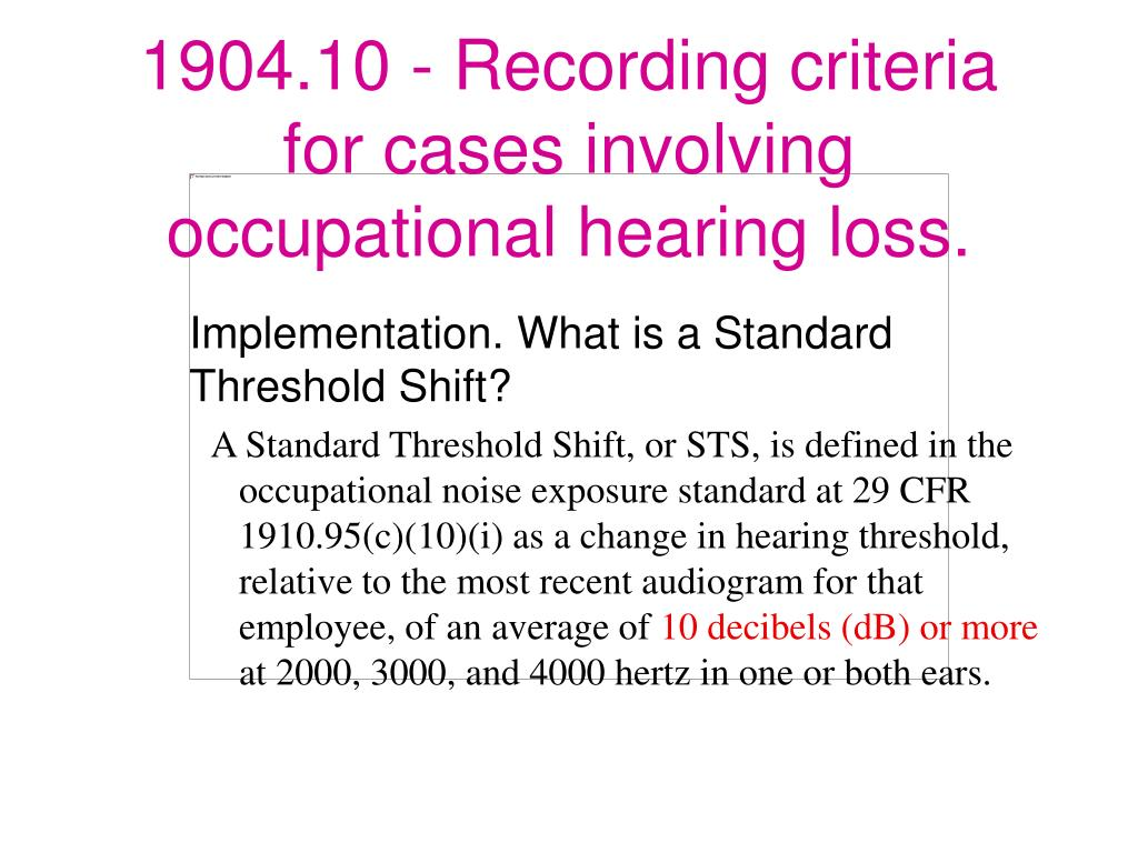 Implementation. What is a Standard Threshold Shift?