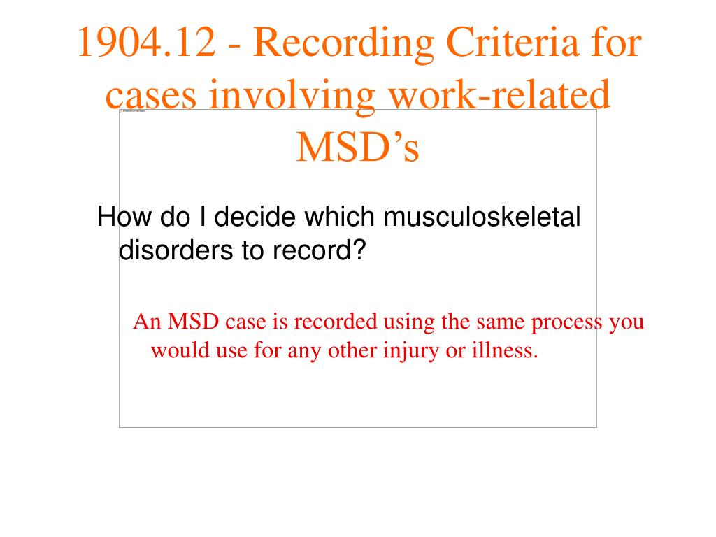 How do I decide which musculoskeletal disorders to record?