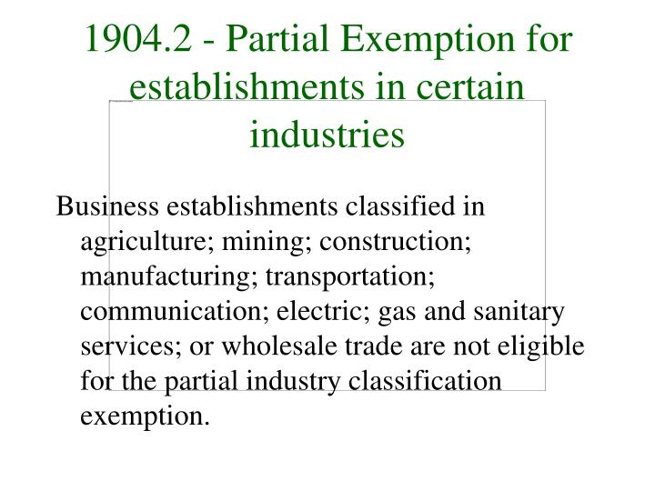 1904 2 partial exemption for establishments in certain industries l.jpg