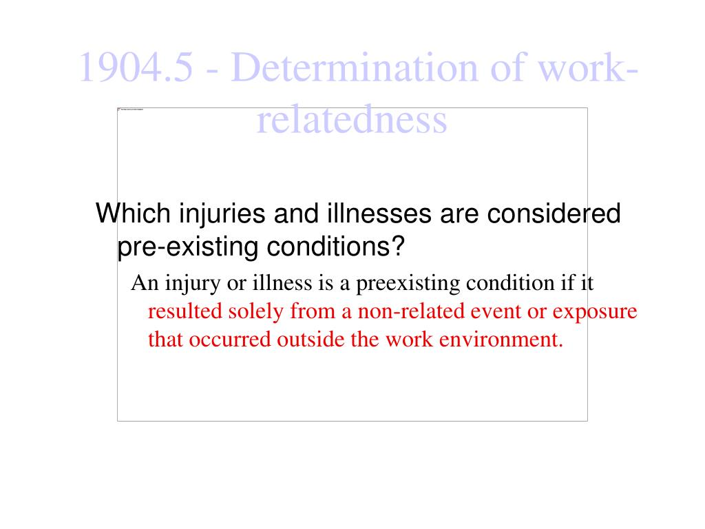 Which injuries and illnesses are considered pre-existing conditions?