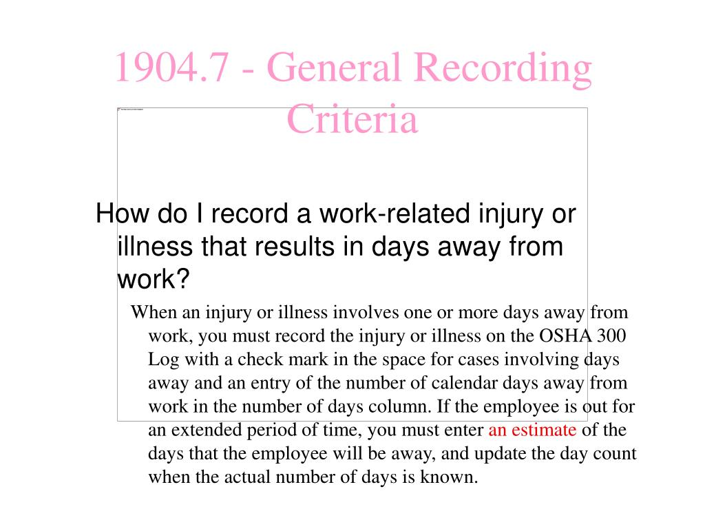 How do I record a work-related injury or illness that results in days away from work?