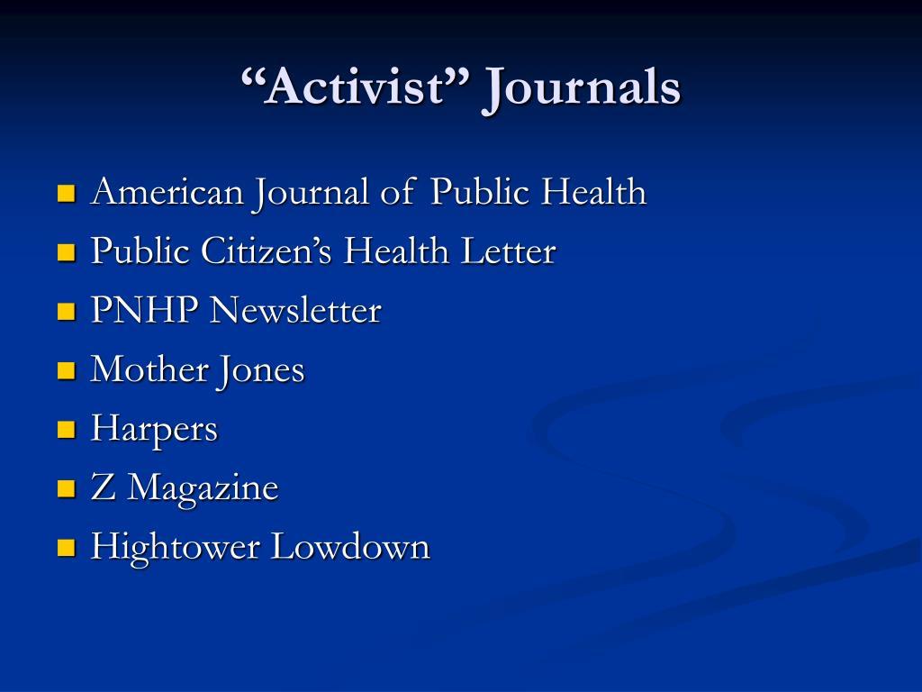 """Activist"" Journals"