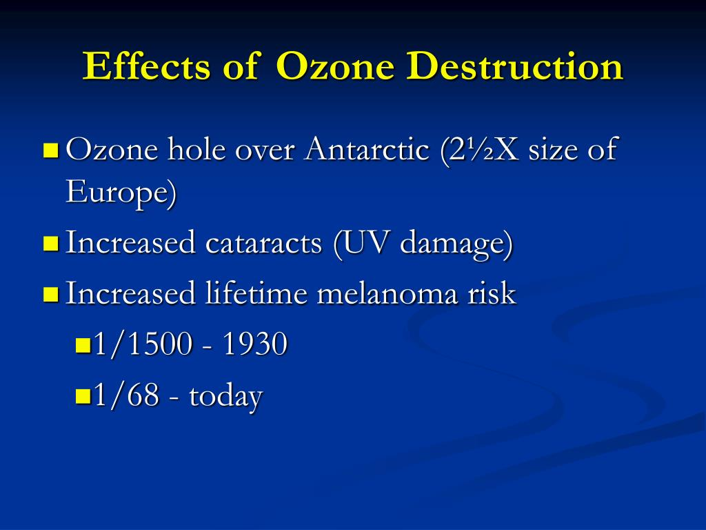 Effects of Ozone Destruction