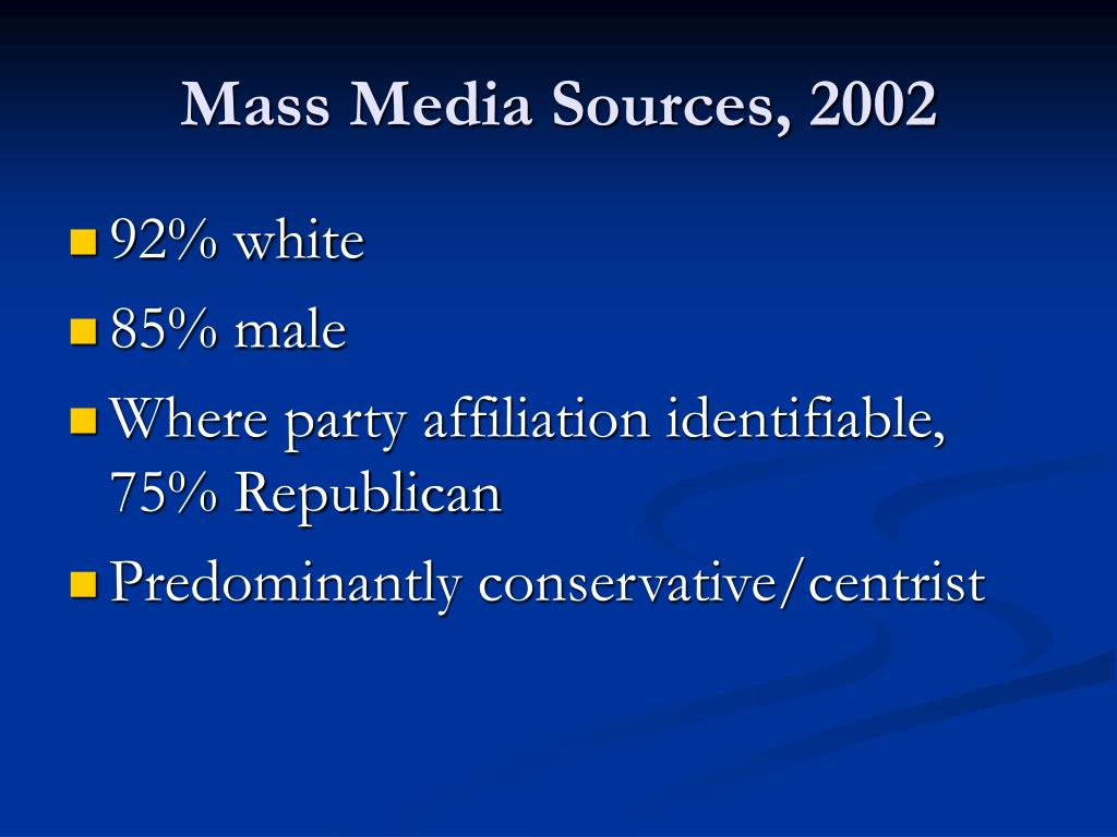 Mass Media Sources, 2002