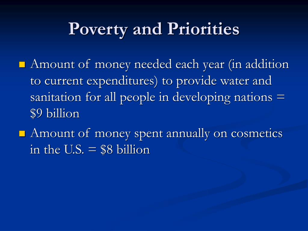 Poverty and Priorities