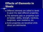 effects of elements in steels