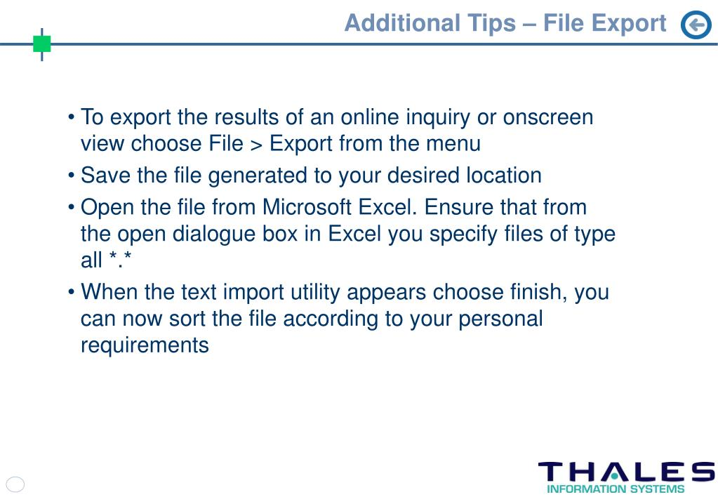 Additional Tips – File Export