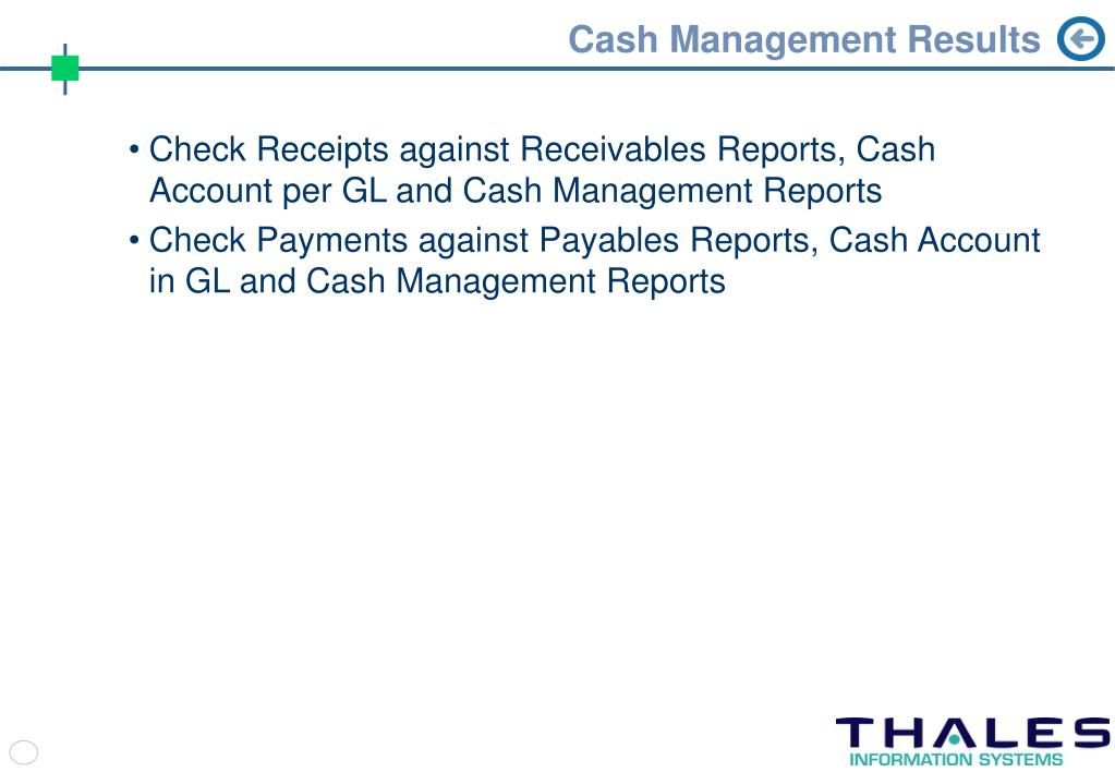 Cash Management Results