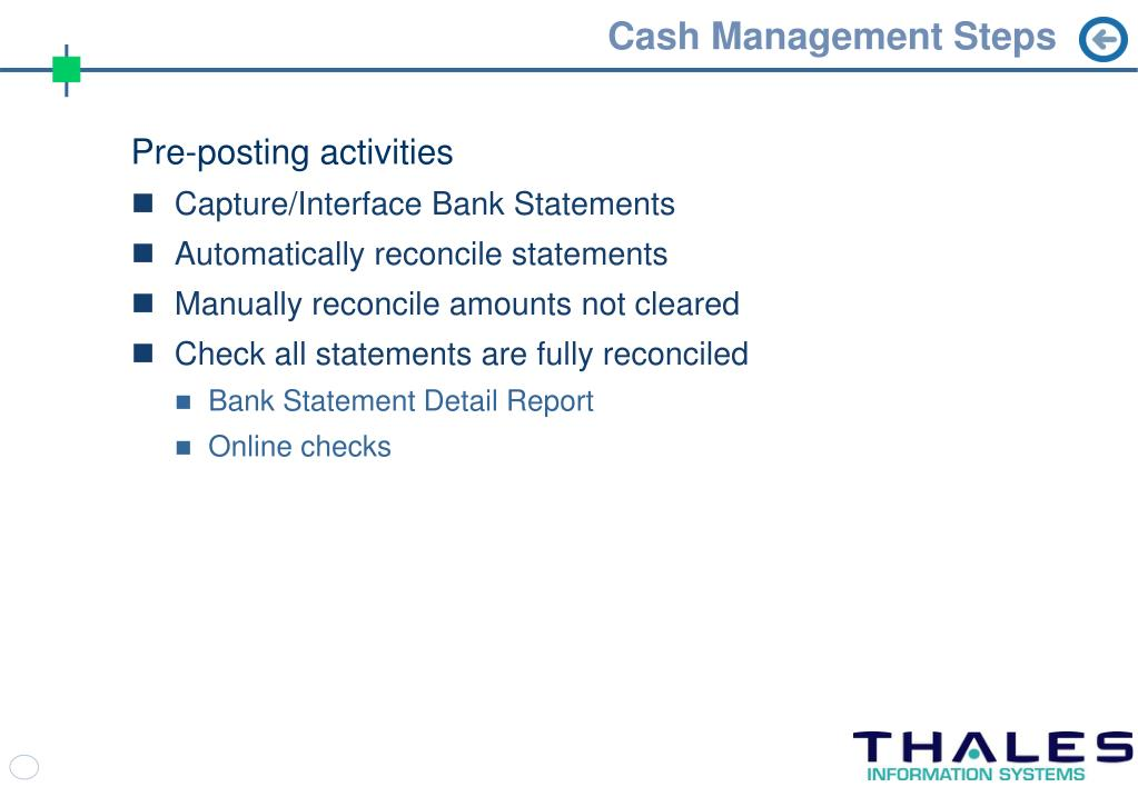 Cash Management Steps