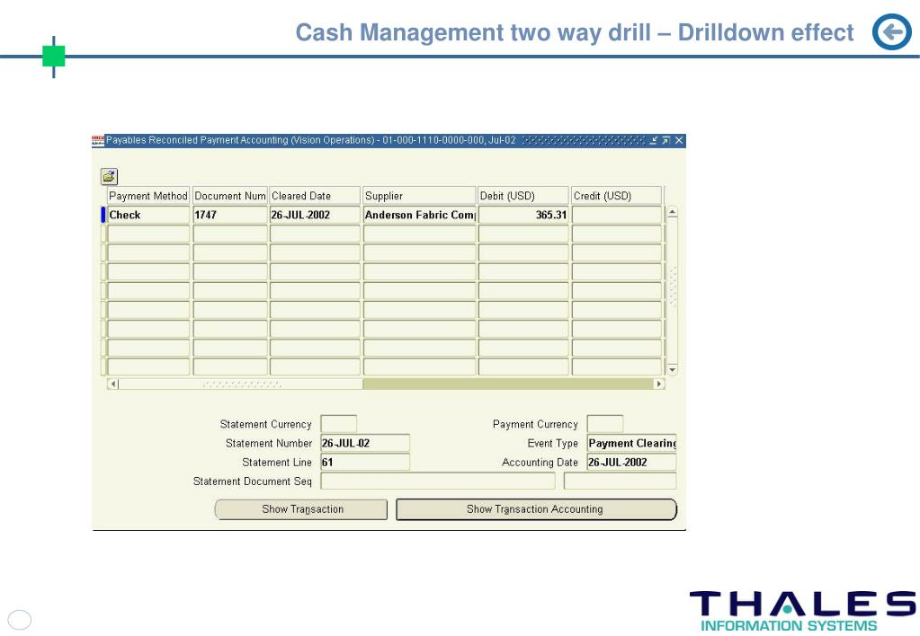 Cash Management two way drill – Drilldown effect