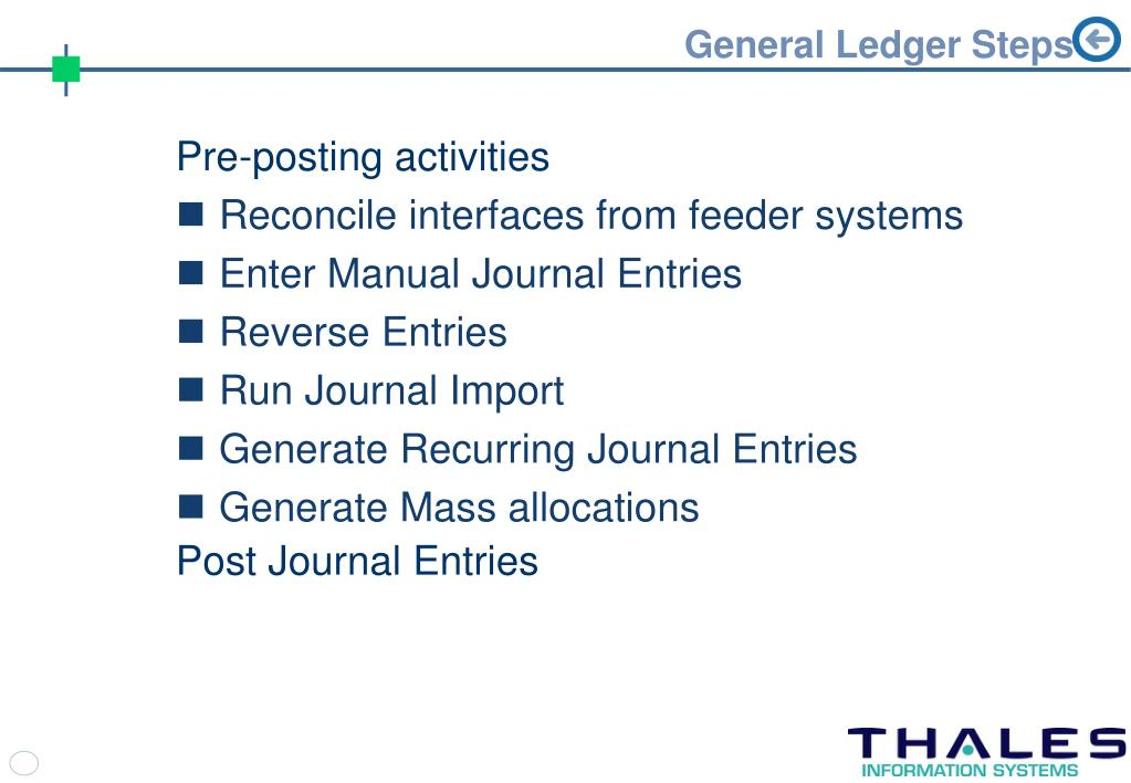 General Ledger Steps