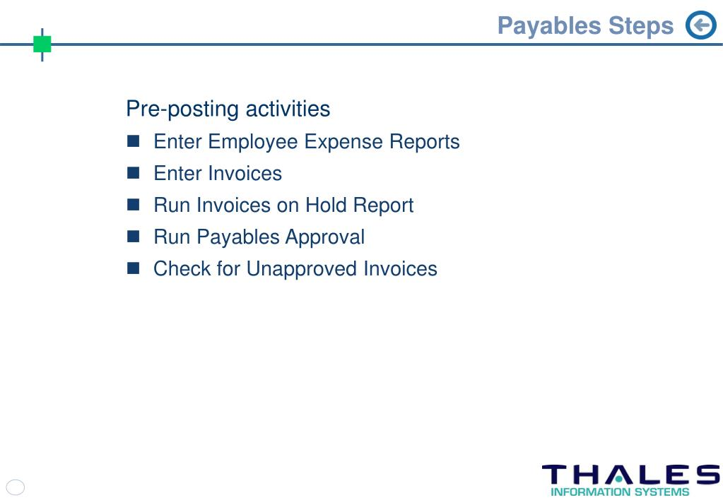 Payables Steps