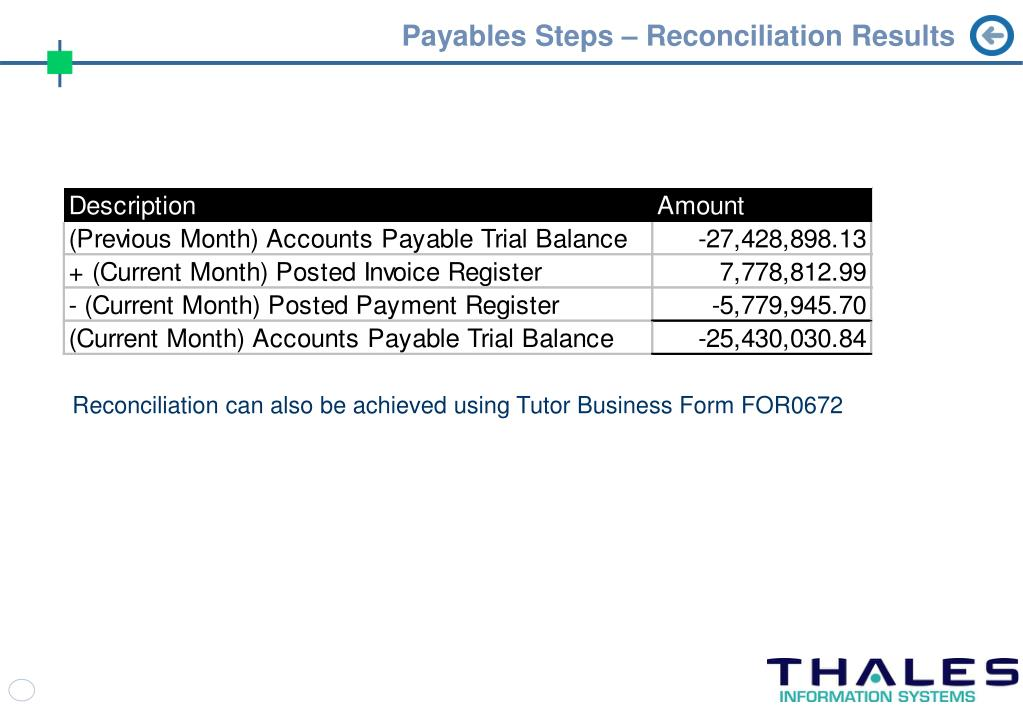 Payables Steps – Reconciliation Results