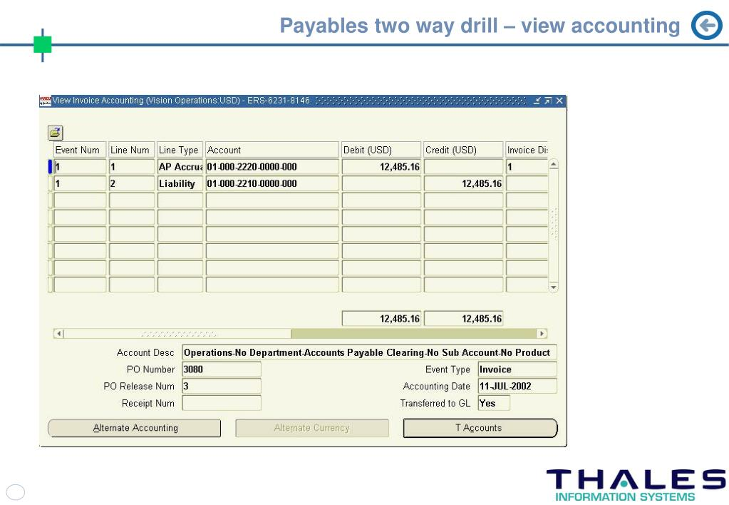 Payables two way drill – view accounting