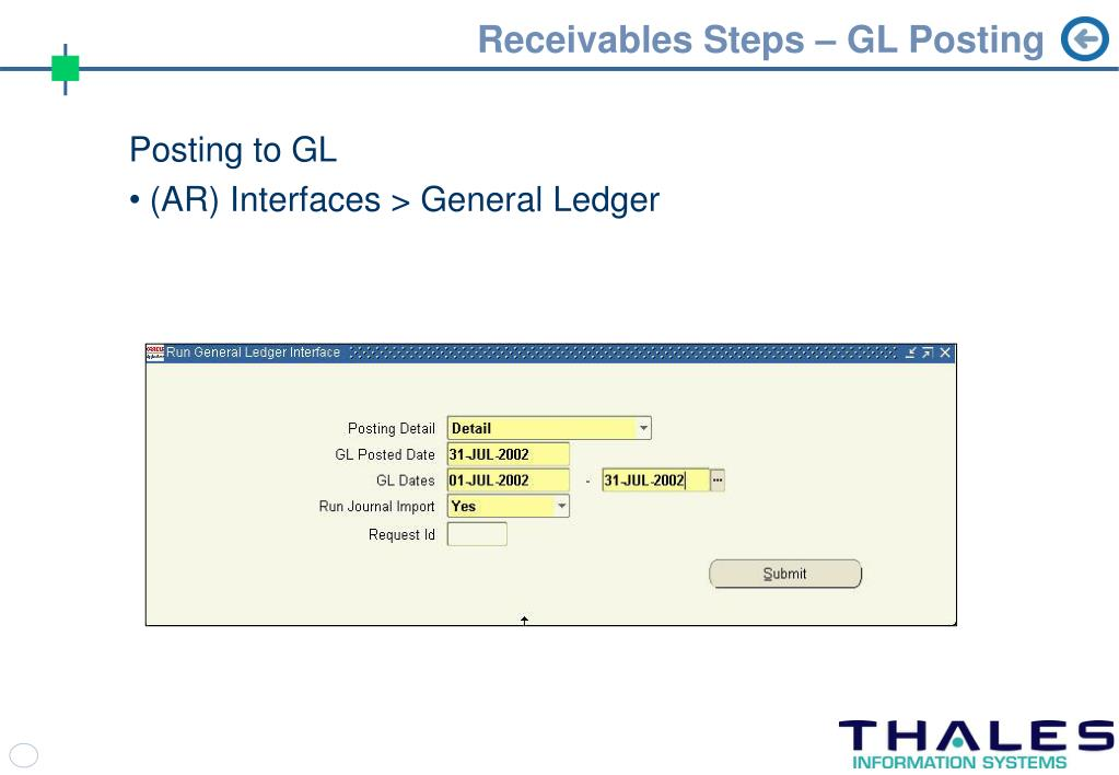 Receivables Steps – GL Posting