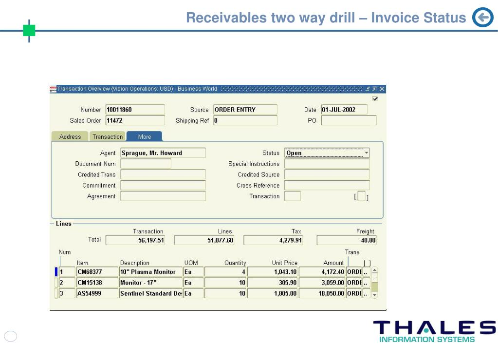 Receivables two way drill – Invoice Status