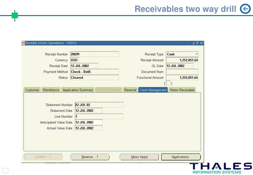 Receivables two way drill