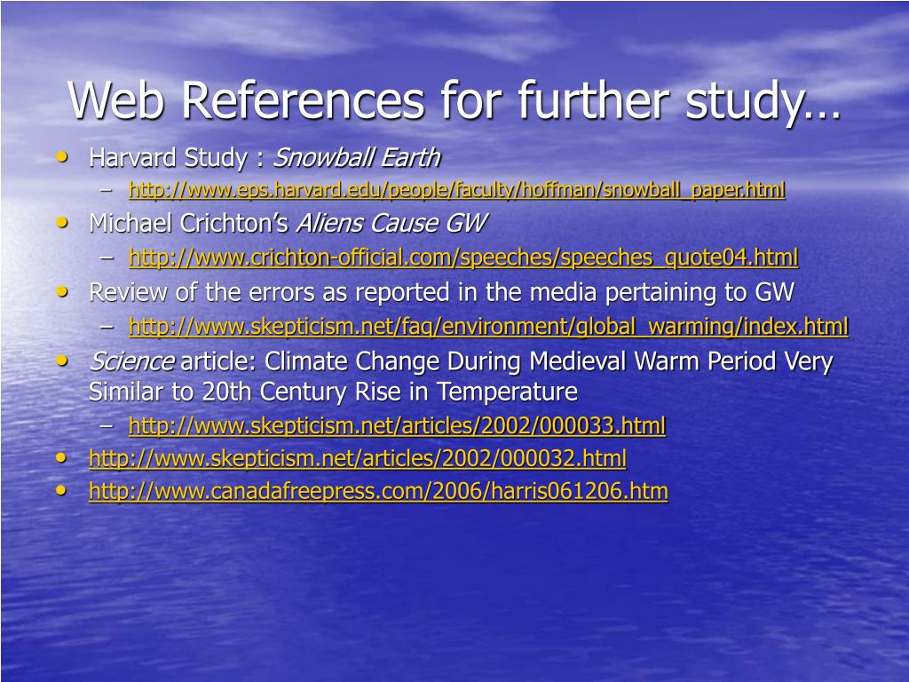Web References for further study…