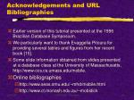 acknowledgements and url bibliographies