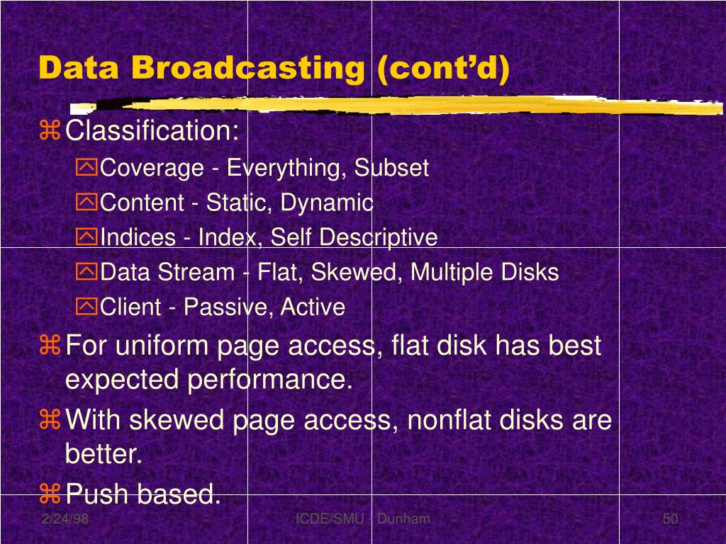 Data Broadcasting (cont'd)