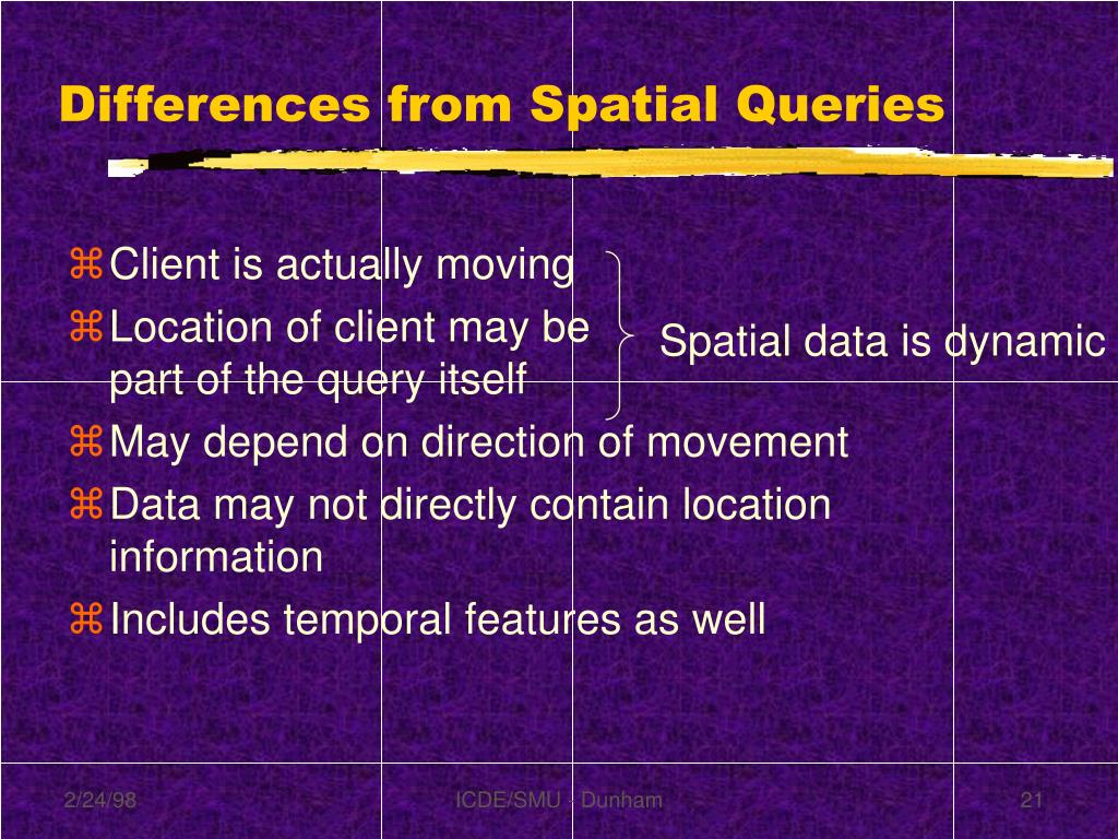 Differences from Spatial Queries