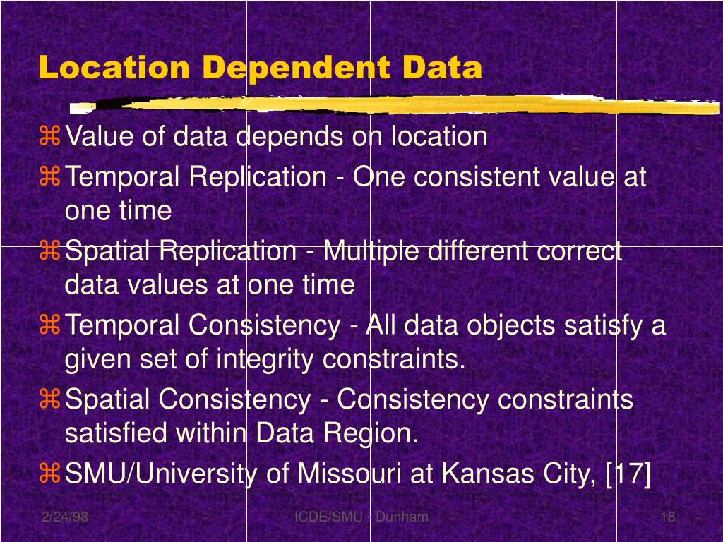Location Dependent Data