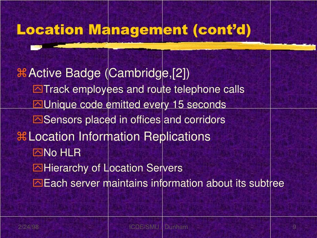 Location Management (cont'd)