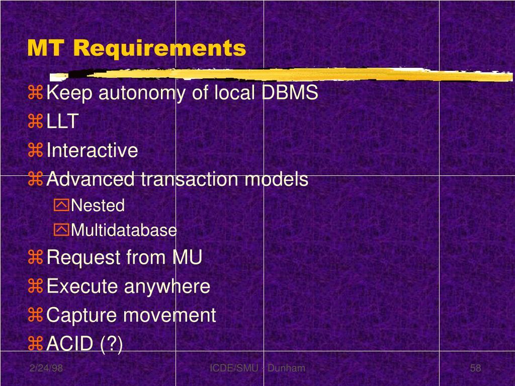 MT Requirements