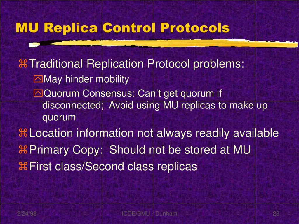 MU Replica Control Protocols