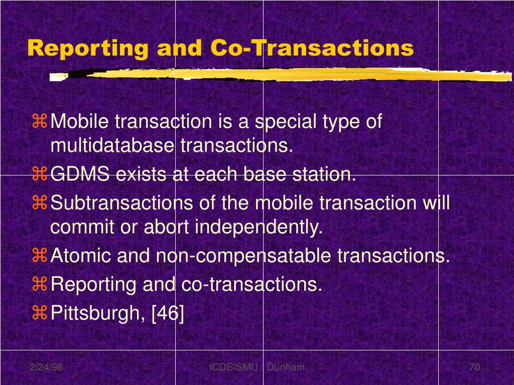 Reporting and Co-Transactions