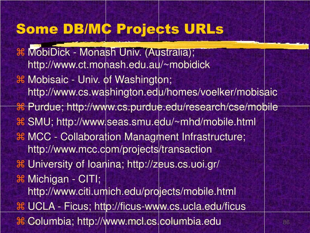 Some DB/MC Projects URLs