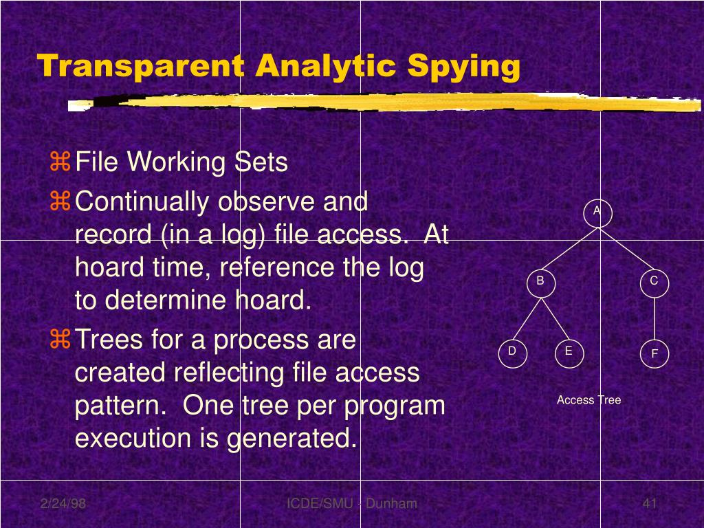 Transparent Analytic Spying