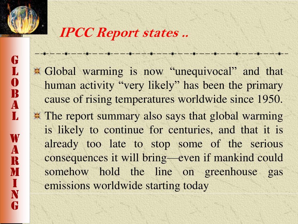 IPCC Report states ..