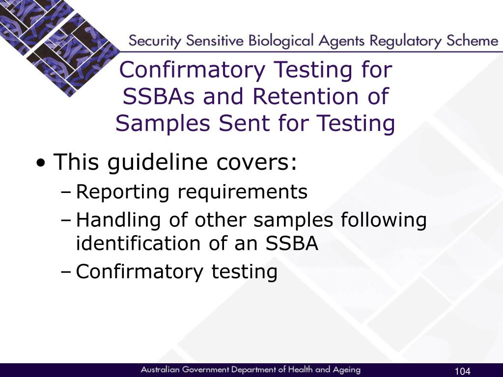 Confirmatory Testing for