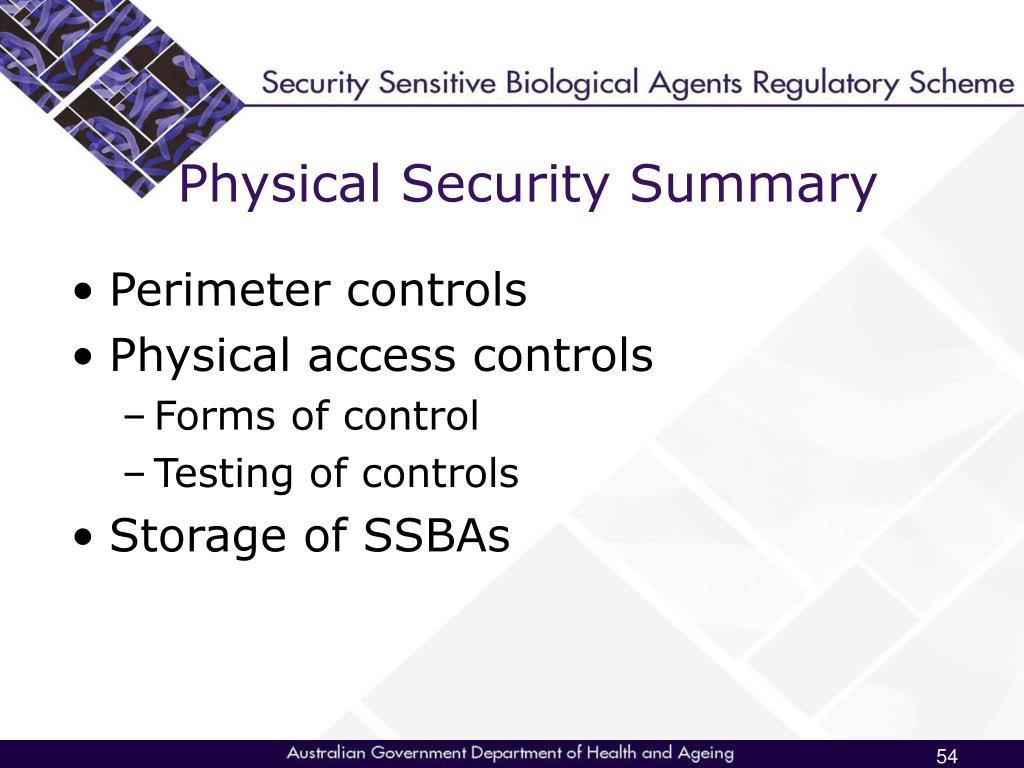 Physical Security Summary