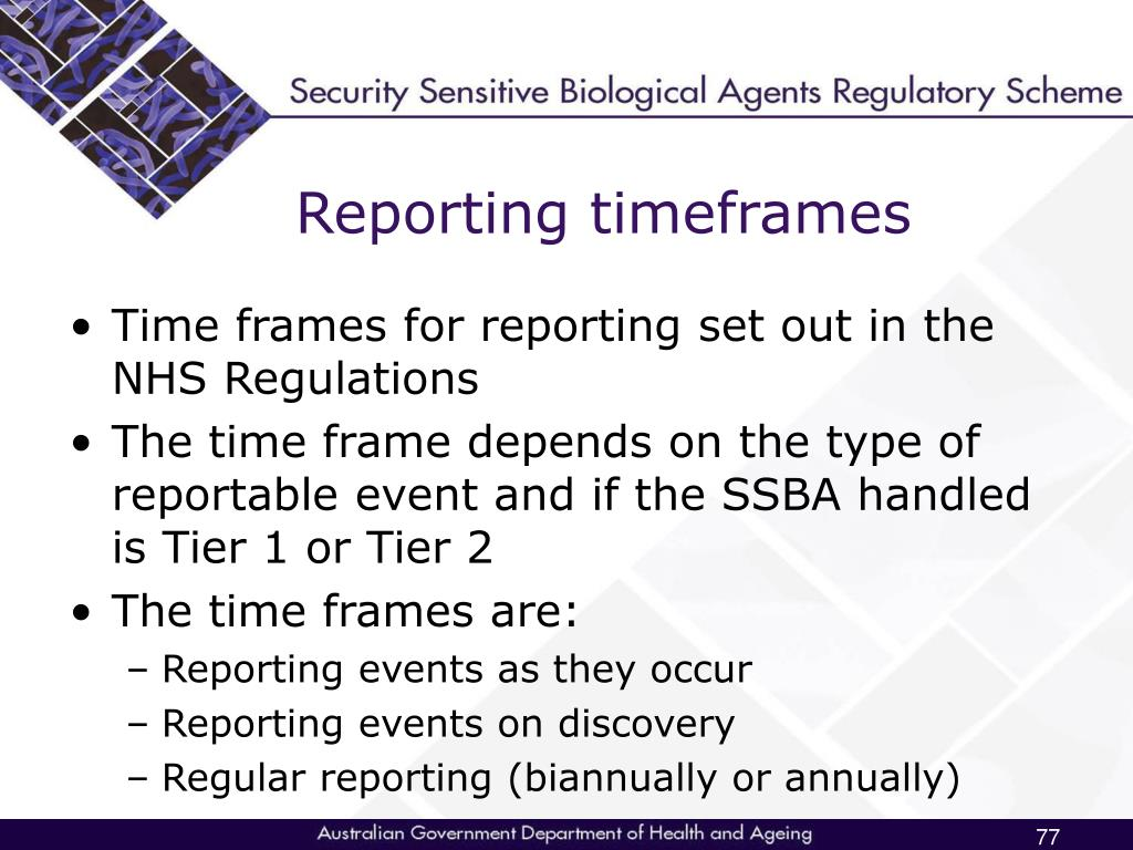 Reporting timeframes