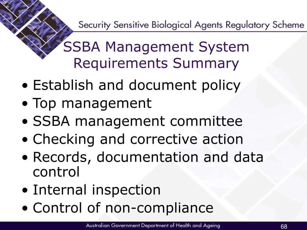 SSBA Management System Requirements Summary