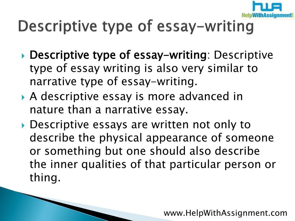 Descriptive type of essay-writing