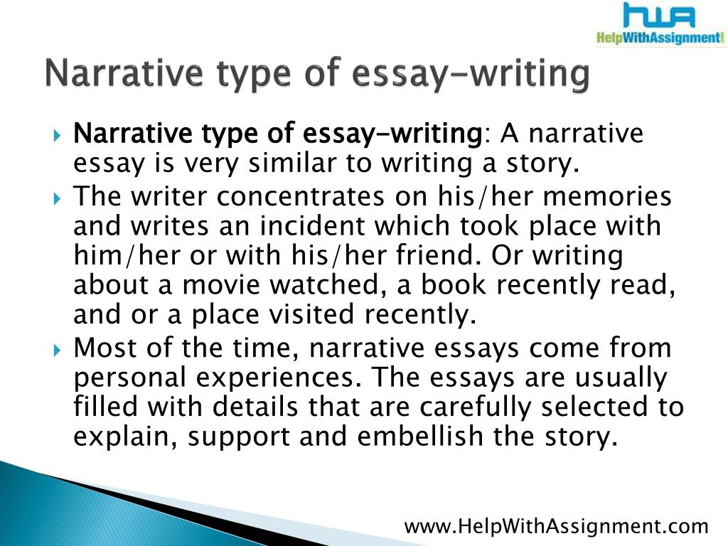 Narrative type of essay-writing