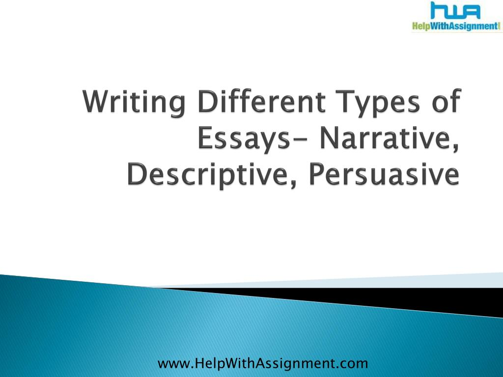 Writing Different Types of Essays- Narrative, Descriptive, Persuasive