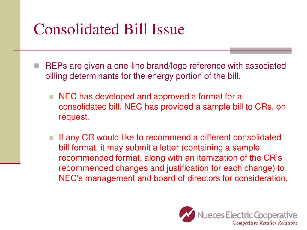Consolidated Bill Issue