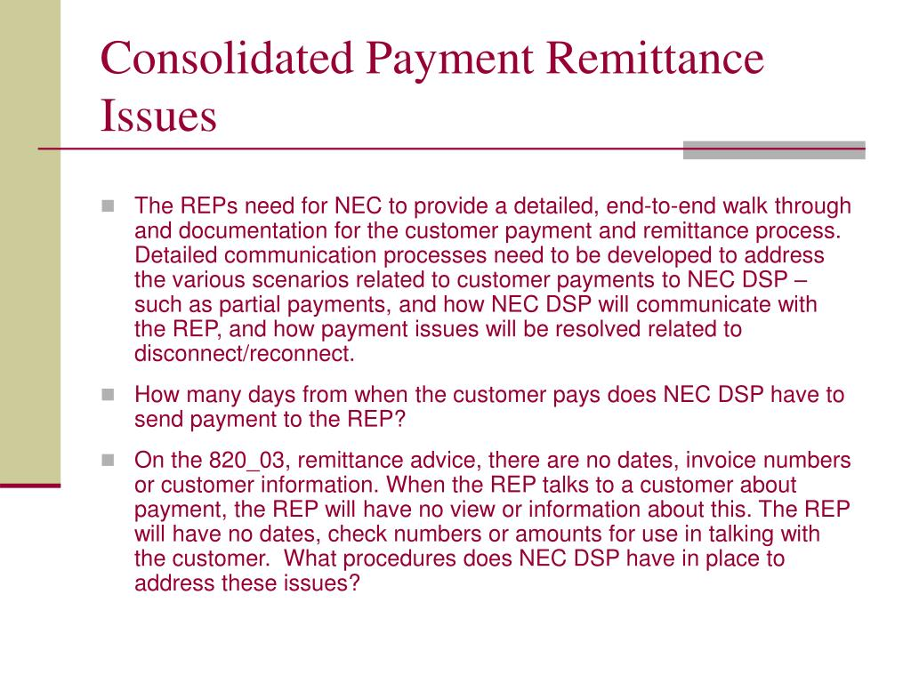 Consolidated Payment Remittance Issues