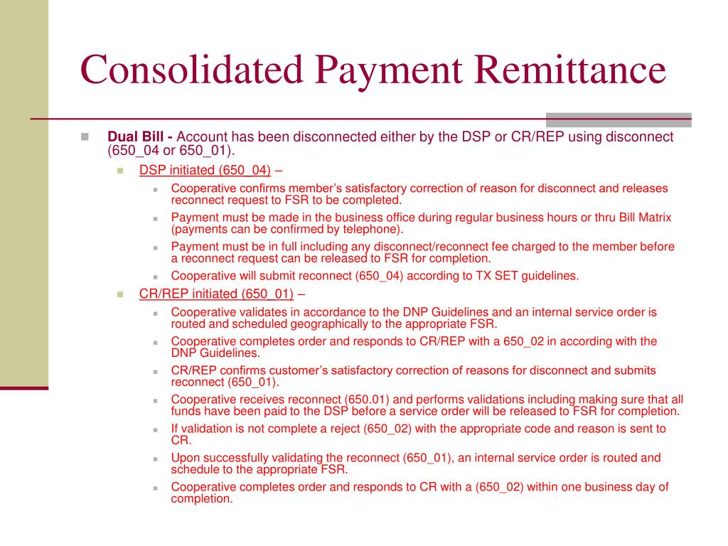 Consolidated Payment Remittance