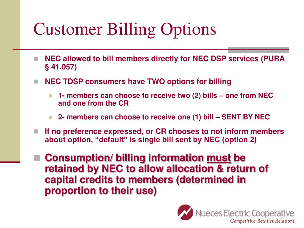 Customer Billing Options