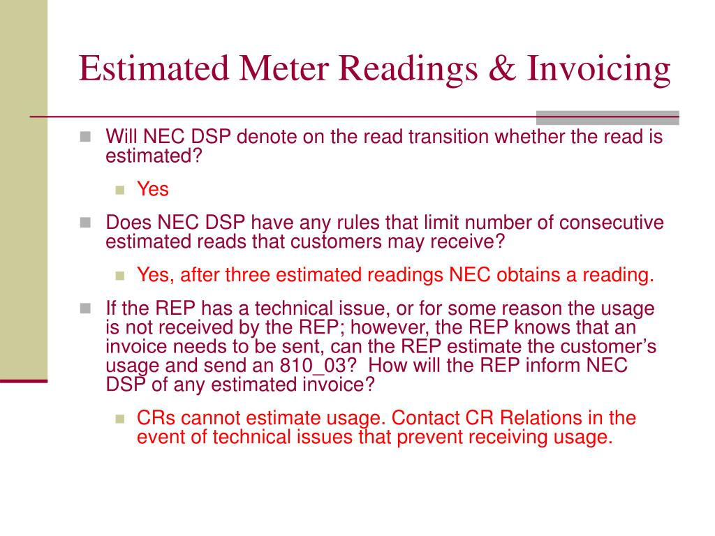 Estimated Meter Readings & Invoicing