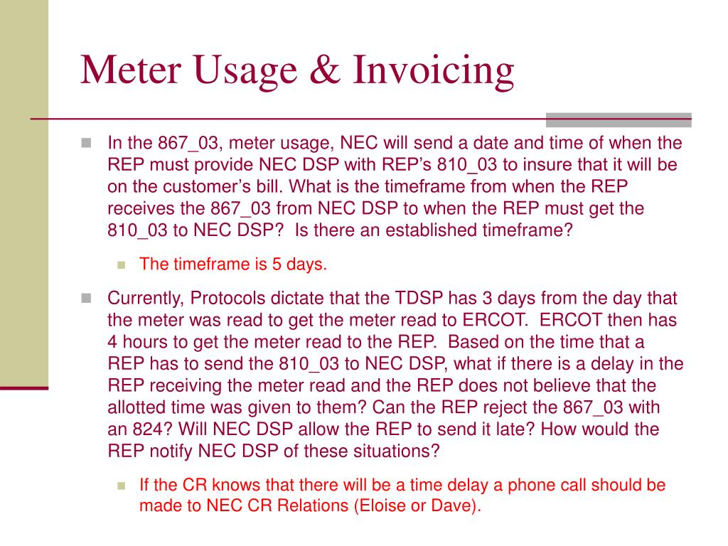 Meter Usage & Invoicing